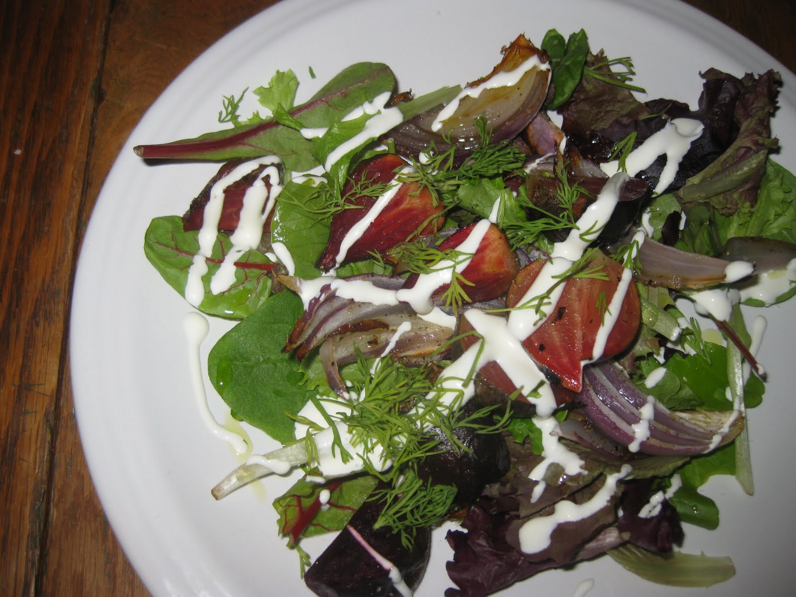 beet and red onion salad red leaf salad with roasted beets artichoke ...