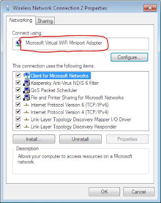 Microsoft Virtual Wi-Fi Miniport Adapter properties