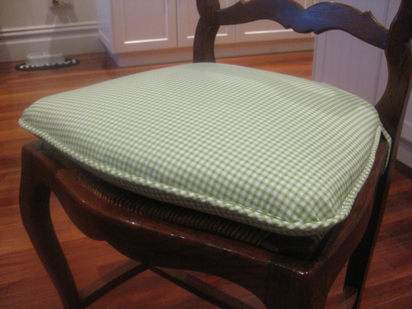 hand sewn home grown kitchen chair cushions. Black Bedroom Furniture Sets. Home Design Ideas