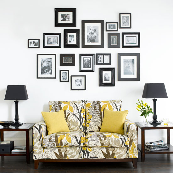 Gold Chalk Picture Frame Feature Wall