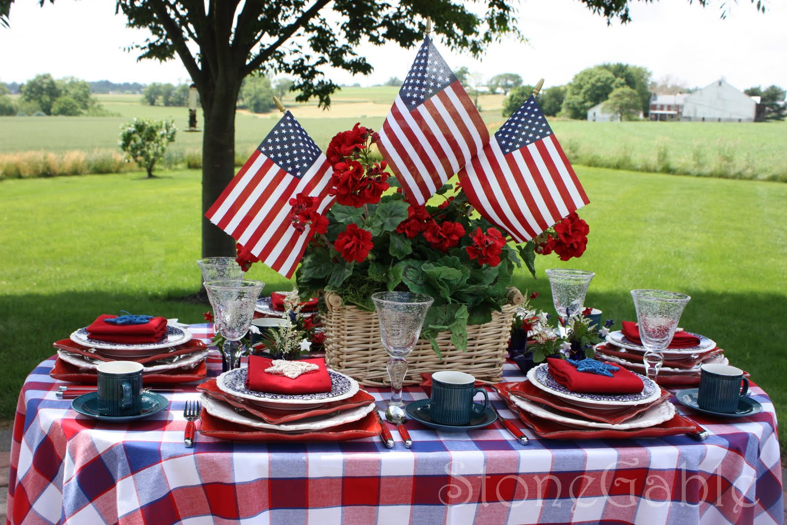 The table is set on our small patio overlooking for Decoration day