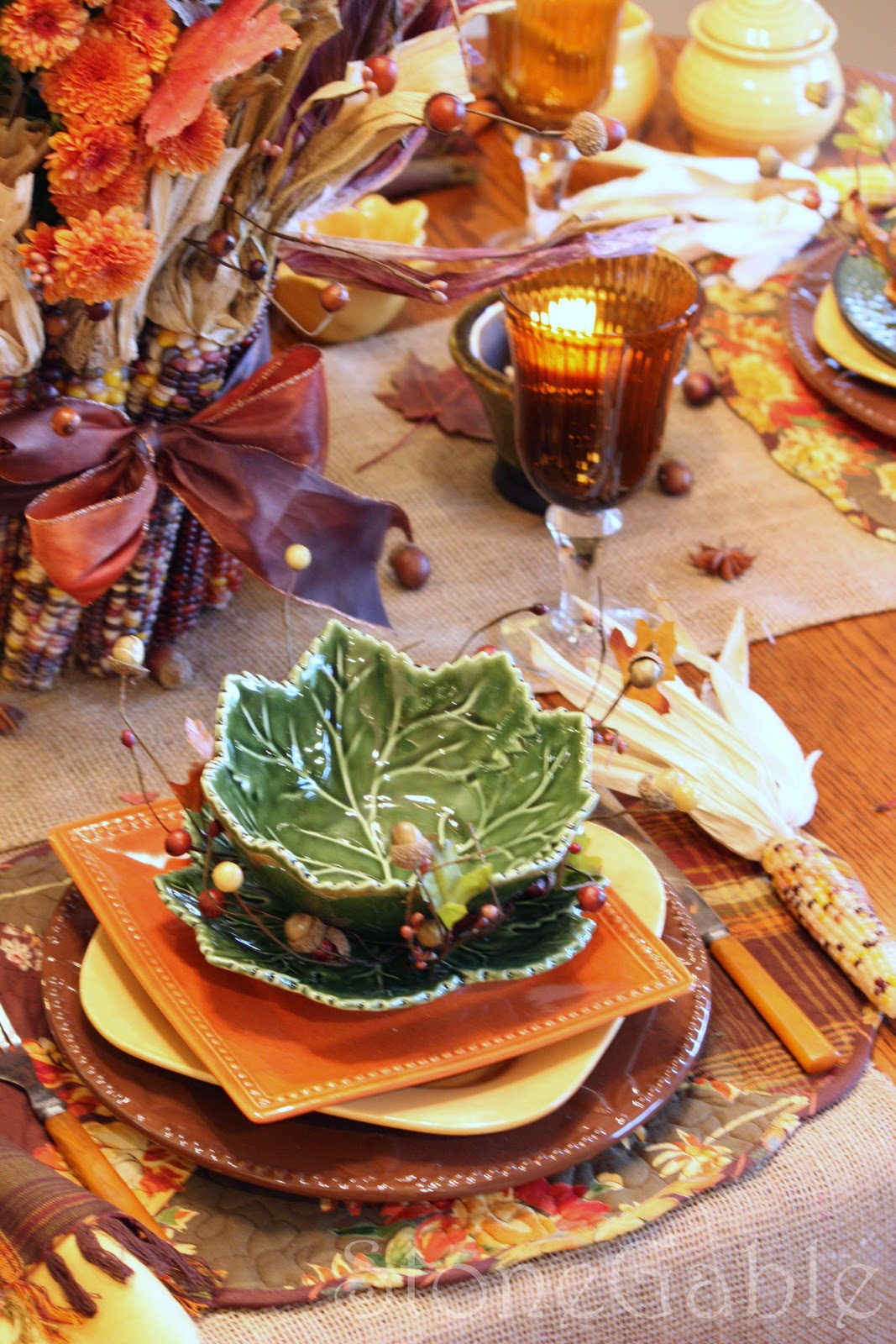 Fall Table Scapes Autumn Patchwork Tablescape Stonegable