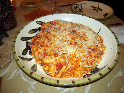 Chicken in Creamy Tomato Sauce with Linguine