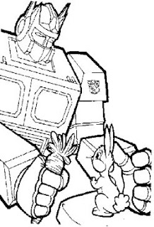 Transformer holding two fearing rabbits in two hands coloring page drawing sketch gallery