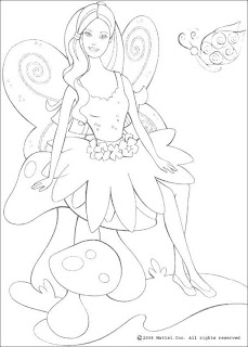 Free coloring sheet of Fairy barbie Sit with butterfly looking cute drawing sketch