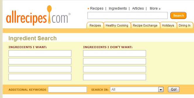Ingredent search recipes