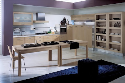 Contemporary-elegant-kitchen-with-lilac-walls-blue-carpet-wood-light-table-chairs-and-cabinets-with-drawers