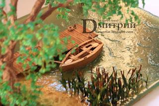 имитация воды, волн, причал, бочка, лодка, бисерное, дерево, бисерные, деревья, композиция, канат, камыш, бочки