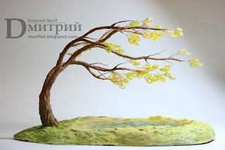 бисерное дерево, рукоделие, композиция, имитация воды, имитация волн, подставка, бисерные деревья, вода, волны