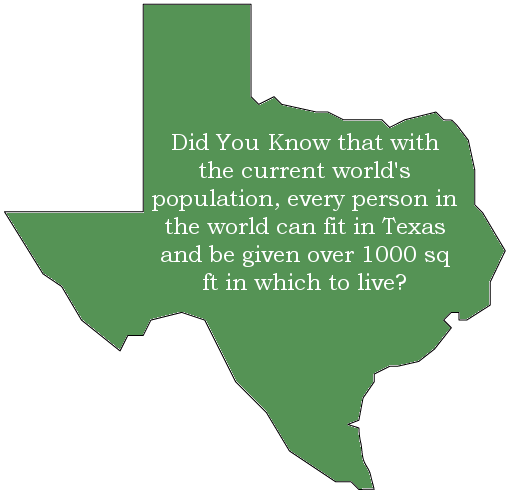 the entire world population could fit in texas