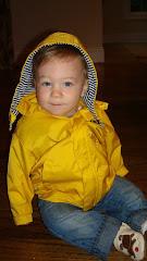 In his raincoat