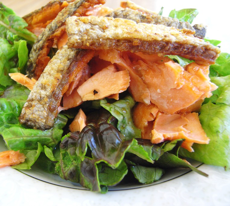 savvy mode japanese style salmon skin salad