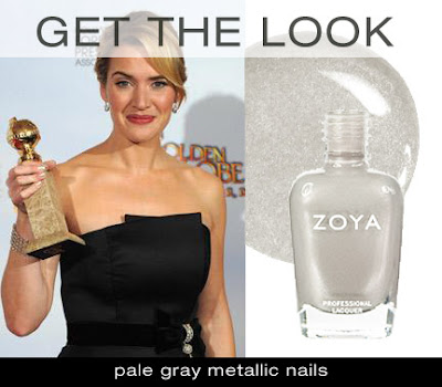 Metallic nail color with a black dress on kate winslet 2 time winner