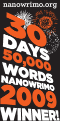 NaNoWriMo 2009 winner badge.