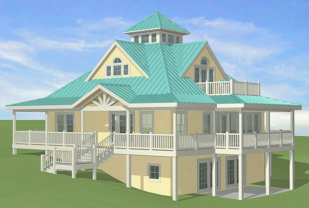 Southern cottages house plans sloping sites for Waterfront home plans sloping lots