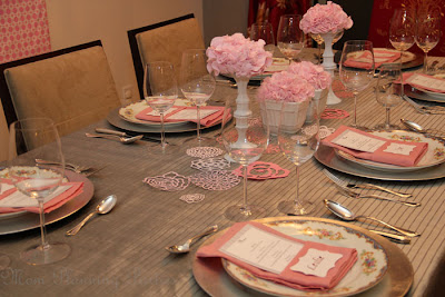 pink and grey dining table