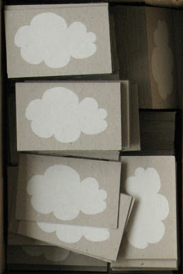hand printed cloud business cards