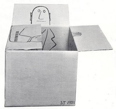 Saul Steinberg cardboard box portrait illustration