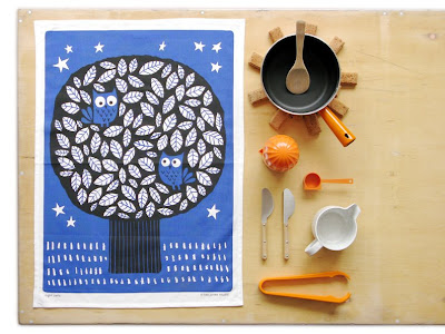 kitchen still life with fairtrade owl tea towel