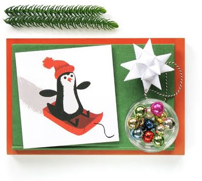 penguin recycled christmas card still life