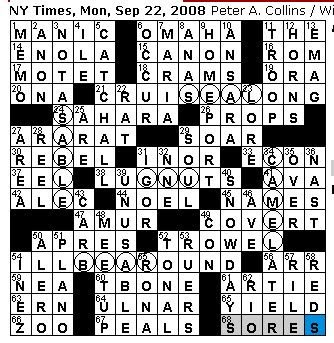 Rex parker does the nyt crossword puzzle september 2008 i got slowed down all over the place in this one on a monday that doesnt mean very much in terms of my average solving time maybe 30 seconds to 1 ccuart Gallery