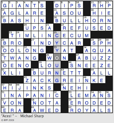 Rex parker does the nyt crossword puzzle november 2009 thanks malvernweather Image collections