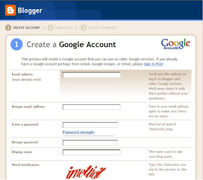 Create a Google Account on Blogger