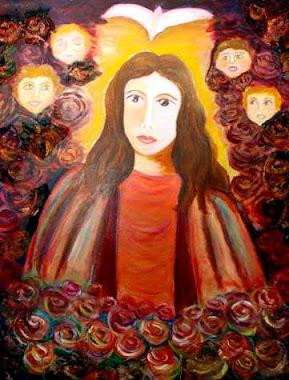 Niña Inmaculada con Rosas y Querubines