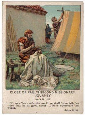 Vintage Sunday School Card Paul the Tentmaker & Pecan Corner: October 2009