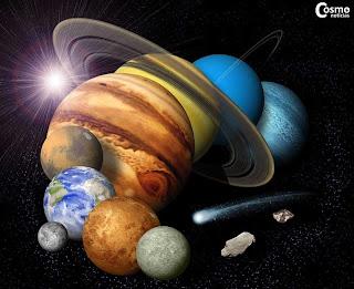 Imagen compuesta de los objetos del Sistema Solar