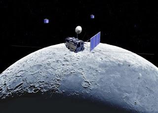 Ilustración de la sonda Kaguya y los orbitadores secundarios