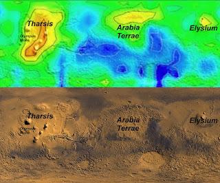 Mapa de las concentraciones de metano en otoño (un año marciano observado por primera vez) superpuestas en el mapa de color verdadero de Marte