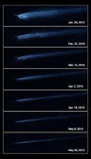 Serie de fotografías que muestran la lenta evolución de los escombros de P/2010 A2