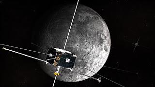 Concepto artístico de las naves THEMIS P1 y P2 (desde entonces renombradas ARTEMIS P1 y P2) en órbita lunar