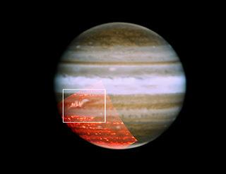 Imagen que muestra la reaparición del Cinturón Ecuatorial Sur de Júpiter