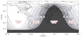 Mapa que muestra la visibilidad del eclipse alrededor del mundo