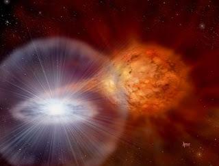 Impresión artística del sistema binario de la nova RS Ophiuchi a principios de 2006, antes de su estallido. Se observa el material rico en hidrógeno de la gigante roja cayendo hacia la enana blanca