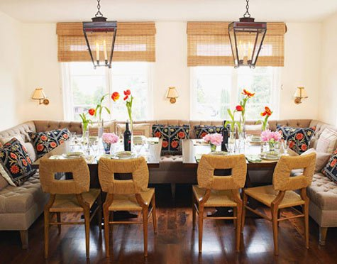 Finding sunday dining room dilemna for Dining room table with couch