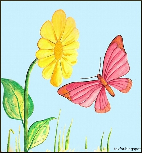 Blue Sky: Painting - Flower and Butterfly - In Two Styles ...