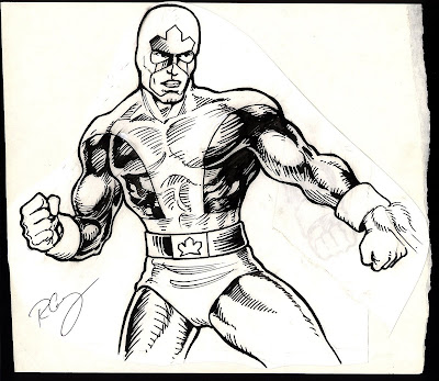 original hand drawn Captain Canuck artwork