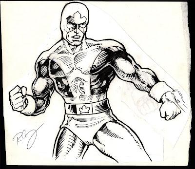 original hand drawn Captain Canuck artwork
