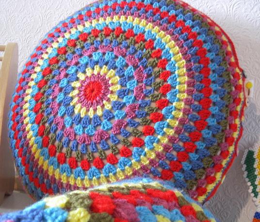 Tangled Happy Granny Circle Cushion