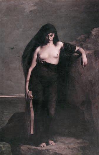 SAFO DE LESBOS,POETISA GREGA DA ANTIGUIDADE.Óleo sobre tela, de Charles-Auguste Mengin, França