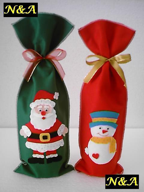 Artesanato Tecido Franzido ~ N&A artesanatos Embalagem para Vinho de Natal em Feltro