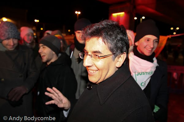 Pablo Solón talking to demonstrators outside the Bella Centre