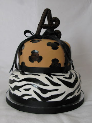 on an animal print cake