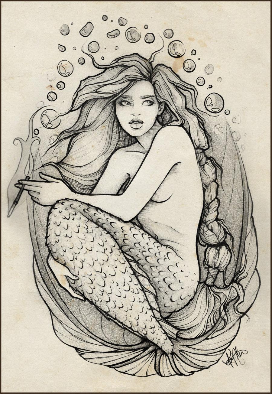 Deniz kızı dövmesi. Tanım ve anlam
