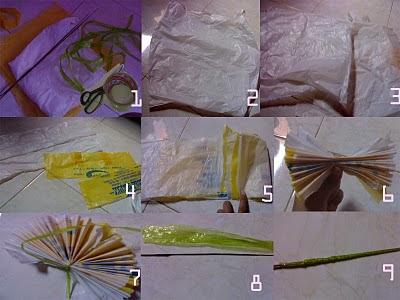 membuat bunga dari sampah plastik