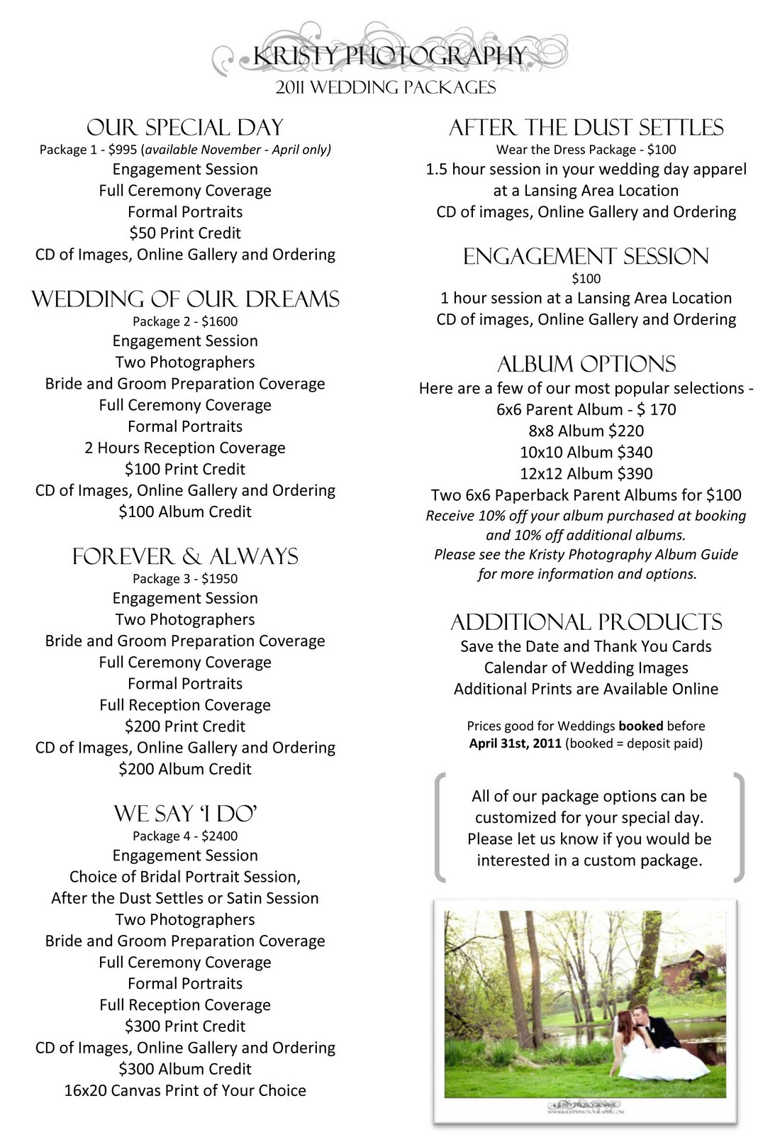 2011 Wedding Packages Are Now Available