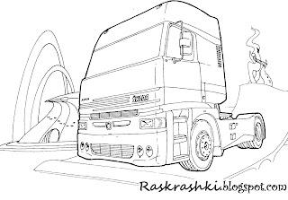 раскрашки грузовые машины